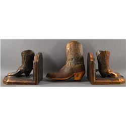 COWBOY BOOT WALL POCKET AND BOOKENDS