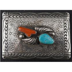 NAVAJO SILVER BELT BUCKL BY RICHARD HENRY YAZZIE (1927-00)