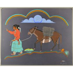 ORIGINAL NAVAJO PAINTING BY L M GOODLUCK