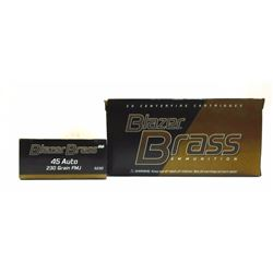 2 Boxes of Blazer Brass 45 Auto.