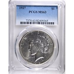 1927 PEACE SILVER DOLLAR PCGS MS63