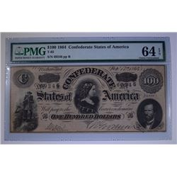 1864 $100 CONFEDERATE STATES OF AMERICA PMG 64EPQ  FULLY FRAMED 4 MARGINS