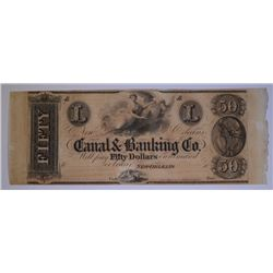 1840's $50 CANAL BANKING CO. GEM CU w/SELVAGE ON 2 SIDES OF SHEET