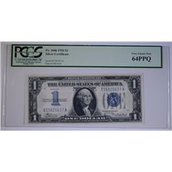 "1934 $1 SILVER CERTIFICATE ""FUNNY BACK"" PCGS 64PPQ"