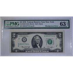 1976 $2 FEDERAL RESERVE NOTE NEW YORK PMG 63EPQ  MISALIGNMENT ERROR