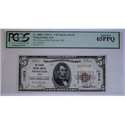 1929 $5 TYPE 1 NATIONAL CURRENCY CITIZENS NATL BK OF NORWALK, OH PCGS 65PPQ