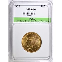 1915 $10 GOLD INDIAN HEAD PCSS CH BU+