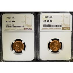 ( 2 ) 1935-S LINCOLN CENTS, NGC MS-65 RED