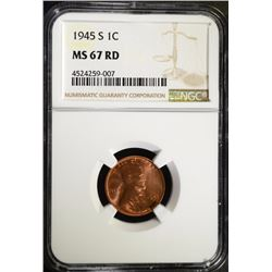 1945-S LINCOLN CENT, NGC MS-67 RED!