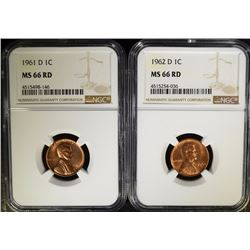 1961-D & 1962-D LINCOLN CENTS, NGC  MS-66 RED