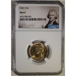 1941-S JEFFERSON NICKEL, NGC MS-67  NONE HIGHER