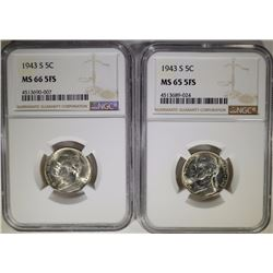 (2) 1943-S JEFFERSON NICKELS NGC MS-65 FS & MS-66 FS