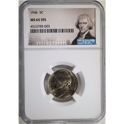 1946 JEFFERSON NICKEL, NGC MS-65 FULL STEPS  RARE!