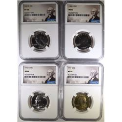 4 WASHINGTON QUARTERS NGC MS-66 72-D, 77, 81-D, 86-D