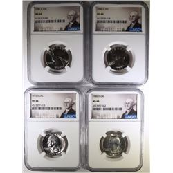4 WASHINGTON QUARTERS NGC MS-66 72-D, 80-D, 81-D, 86-D