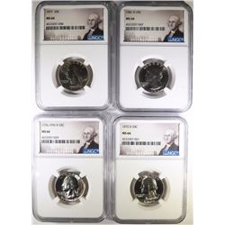 4 WASHINGTON QUARTERS NGC MS-66 76-D, 77, 72-D, 81-D