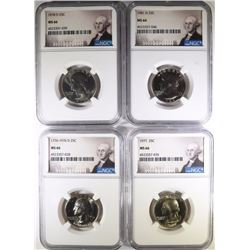 4 WASHINGTON QUARTERS NGC MS-66 76-D, 77, 78-D, 81-D