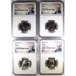 4 WASHINGTON QUARTERS NGC MS-66. 72-D,81-D, 87-D, 88-D