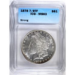 1878 7/8 TF STRONG MORGAN SILVER DOLLAR, ICG MS-63