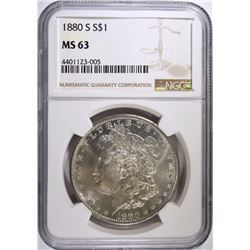 1880-S MORGAN SILVER DOLLAR, NGC MS-63