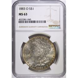 1883-O MORGAN SILVER DOLLAR, NGC MS-63