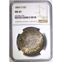 1884-O MORGAN SILVER DOLLAR, NGC MS-63