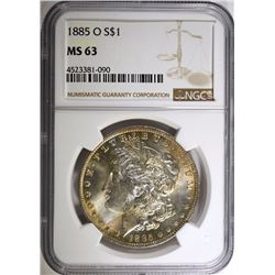 1885-O MORGAN SILVER DOLLAR, NGC MS-63