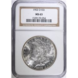 1902-O MORGAN SILVER DOLLAR, NGC MS-63