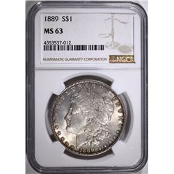 1889 MORGAN SILVER DOLLAR, NGC MS-63