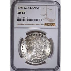 1921 MORGAN SILVER DOLLAR, NGC MS-64