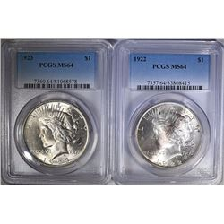 1922 & 1923 PEACE SILVER DOLLARS - PCGS MS64