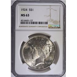 1924 PEACE SILVER DOLLAR, NGC MS-63