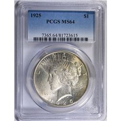 1925 PEACE SILVER DOLLAR, PCGS MS-64