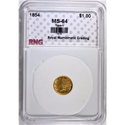 1854 TYPE-1 $1.00 GOLD LIBERTY HEAD, RNG CH/GEM BU