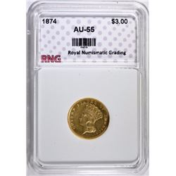 1874 $3.00 GOLD INDIAN PRINCESS, RNG  AU/BU