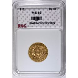 1912 $5.00 GOLD LIBERTY, RNG CHOICE BU