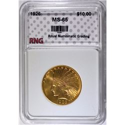 1926 $10.00 GOLD INDIAN, RNG GEM BU