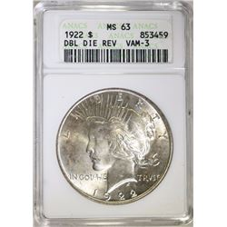 1922 PEACE DOLLAR - ANACS MS 63 DOUBLE DIE REV VAM-3
