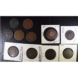 11 - LARGE CENTS; No Date DRAPED BUST, 1820, 1826, 1838, 1846, 1853 & 5 - LESSER