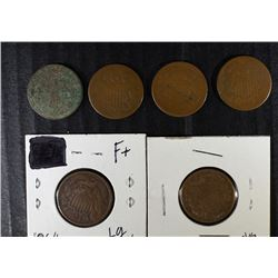 6 - TWO CENT PIECES; 1864 F, 1865 G, 1870 F, 3 - AG Lesser
