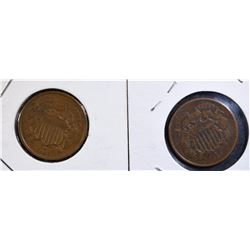"""1864 TWO CENT XF & 1866 TWO CENT AU """"Full WE"""" Scratch Rev"""