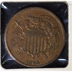 "1864 TWO CENT PIECE - NICE AU+ ""FULL WE"""
