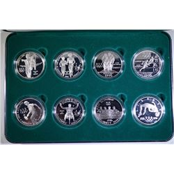 1995-1996 OLYMPIC EIGHT PIECE PROOF COMMEM SILVER DOLLAR SET IN ORIGINAL BOX/COA