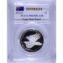 2014-P AUSTRAILIAN WEDGE TAILED EAGLE, PCGS PR-69 DCAM WITH ORIG BOX, NO CERT