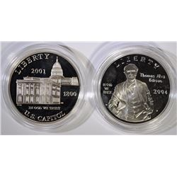 2 - SILVER PROOF COMMEM DOLLARS; 2001 CAPITOL VISITOR $1 & 2004 THOMAS EDISON $1