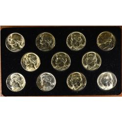 GEM BU JEFFERSON SILVER WAR NICKEL SET IN WOOD DISPLAY BOX