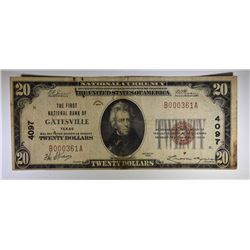 1929 $20.00 NATIONAL CURRENCY GATESVILLE TX. #4097 F/VF