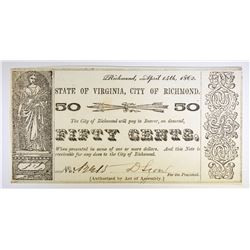 1862 FIFTY CENT STATE OF VIRGINIA, CITY OF RICHMOND OBSOLETE CURRENCY, CHOICE BU