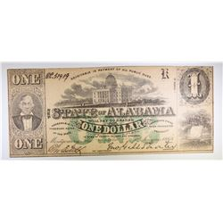 1863 $1.00 STATE OF ALABAMA NOTE, CU  NOT USUALLY FOUND THIS NICE
