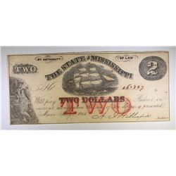 1864 $2.00 STATE OF MISSISSIPPI NOTE, CU  SCARCE!